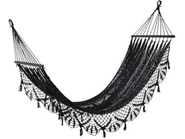 """Hamac Design en Crochet """"Mexico"""" 220cm Noir - Paris Prix"""