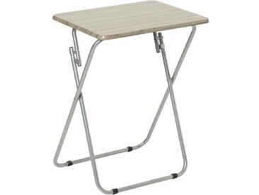 """Table de Camping Pliante """"Wood"""" 66cm Gris - Paris Prix"""