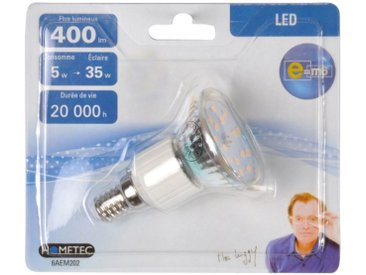 """Ampoule LED """"Spot 5W"""" 7cm Argent - Paris Prix"""