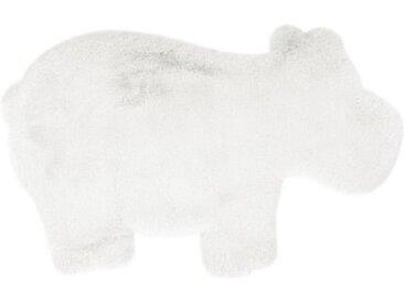 """Tapis Déco Enfant """"Lovely Hippo"""" 55x90cm Blanc - Paris Prix"""