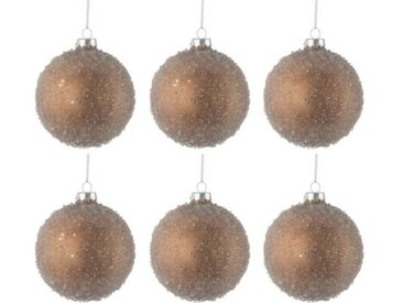 "Lot de 6 Boules de Noël ""Perles"" 8cm Marron - Paris Prix"