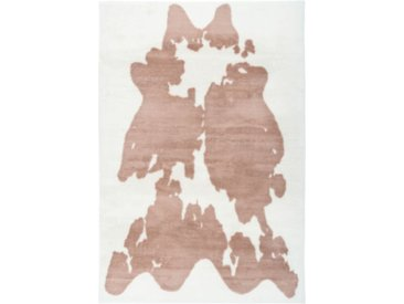 "Tapis Imitation Fourrure ""Rabbit"" Taupe & Blanc - Paris Prix"