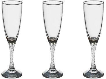 """Lot de 3 Flûtes à Champagne """"Twist"""" 15cl Transparent - Paris Prix"""