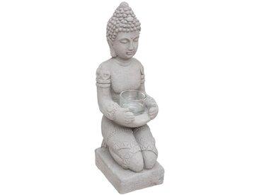 """Statue Photophore en Ciment """"Bouddha"""" 36cm Gris - Paris Prix"""