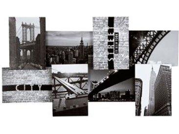 """Toile Imprimé 8 Photos """"City I"""" 74cm Noir & Blanc - Paris Prix"""
