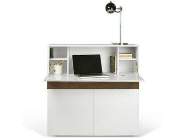"""TemaHome - Bureau Secrétaire """"Focus"""" 110cm Blanc Mat & Noyer"""