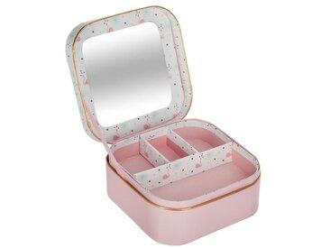 """Boîte à Bijoux & Miroir """"Foil"""" 16cm Rose - Paris Prix"""