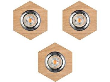 """Lot de 3 Spots Encastrables Hexagone LED """"Bois"""" 11cm Naturel"""