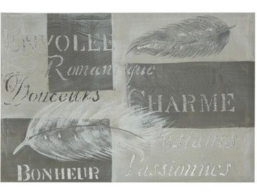 "Toile Peinte Rectangulaire ""Plume"" 60x90cm Gris - Paris Prix"