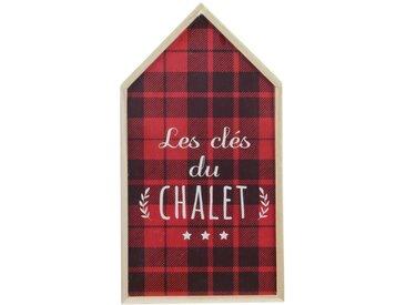 """Boîte à Clés Déco """"Chalet"""" 27cm Rouge & Naturel - Paris Prix"""