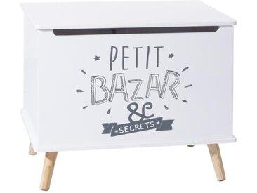 """Coffre Rangement Enfant """"Petit Bazar"""" Blanc - Paris Prix"""