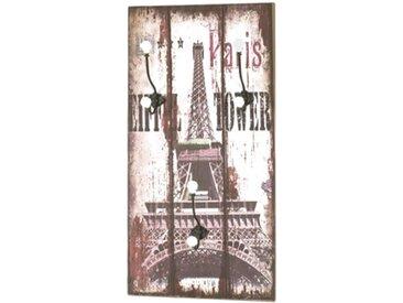 """Patère Murale 3 Crochets """"Eiffel"""" 60cm Naturel - Paris Prix"""