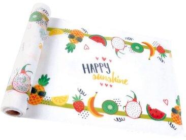 """Chemin de Table Jetable """"Happy Sunshine"""" 28cmx5m Blanc - Paris Prix"""
