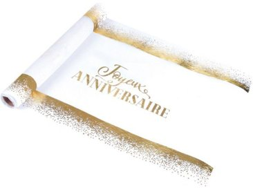 "Chemin de Table Jetable ""Birthday"" 28cmx5m Blanc & Or - Paris Prix"