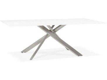 """Table à Manger Verre """"Dirna"""" 200cm Blanc & Métal - Paris Prix"""