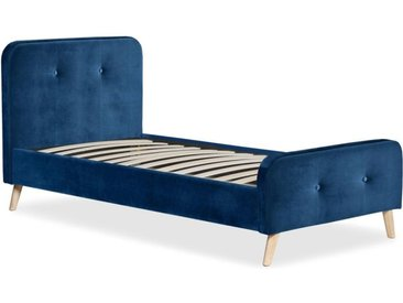 """Lit Design & Sommier Velours """"Sad"""" 90x190cm Bleu - Paris Prix"""