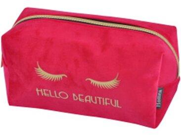"""Trousse de Maquillage Velours """"Hello"""" 22cm Fuchsia - Paris Prix"""