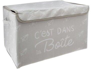 """Coffre de Rangement Pliable Enfant """"Chest"""" 40cm Gris - Paris Prix"""