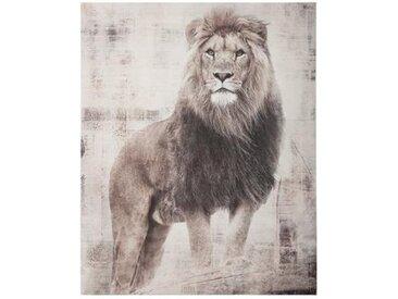 """Toile Imprimée """"Lion"""" 38x48cm Gris - Paris Prix"""