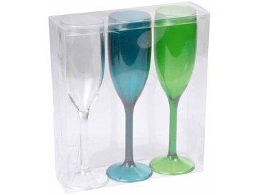 """Lot de 3 Flûtes à Champagne """"Acrylique"""" 21cm Vert - Paris Prix"""