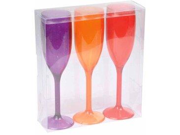 """Lot de 3 Flûtes à Champagne """"Acrylique"""" 21cm Orange - Paris Prix"""