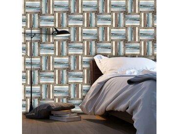 """Papier Peint """"Wooden Weave of Colors"""" 50x1000cm - Paris Prix"""
