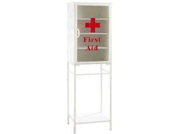 "Armoire à Pharmacie en Métal ""First Aid"" 152cm Blanc - Paris Prix"