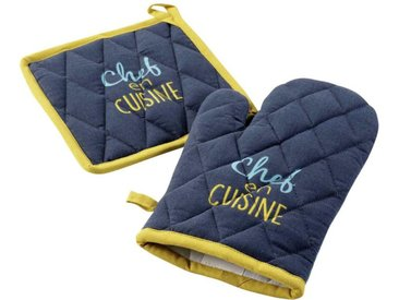"""Gant & Manique """"Chef en Cuisine"""" 28cm Bleu - Paris Prix"""