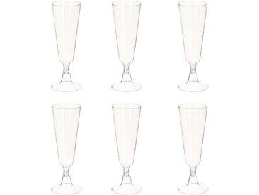 """Lot de 6 Flûtes à Champagne Plastique """"Taste"""" 140ml Transparent"""