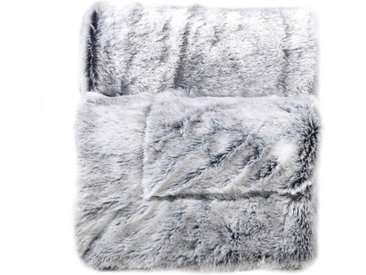 "Plaid Imitation Fourrure ""Antartic"" 180x220cm Gris - Paris Prix"