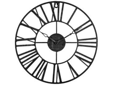 """Pendule Vintage en Métal """"Time"""" 36cm Noir - Paris Prix"""