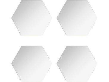 """Lot de 4 Miroirs Adhésifs """"Hexagone"""" 30x30cm Argent - Paris Prix"""