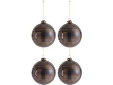"Lot de 4 Boules de Noël ""Antiquan"" 12cm Marron - Paris Prix"