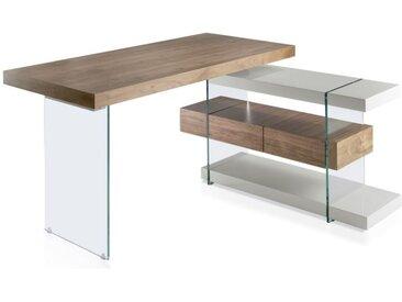 """Bureau D'Angle Design """"Kira"""" 140cm Naturel & Gris - Paris Prix"""