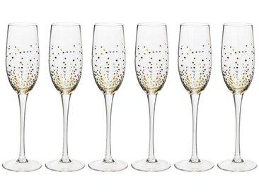 """Lot de 6 Flûtes à Champagne """"Jeanne"""" 21cl Or - Paris Prix"""
