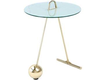 """Table d'Appoint Design """"Pendule"""" 60cm Or & Blanc - Paris Prix"""