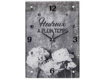 """Pendule en Verre """"Fleurs"""" 36cm Noir - Paris Prix"""
