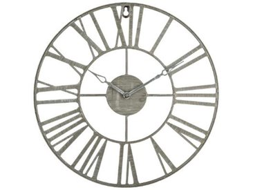 """Pendule Vintage en Métal """"Time"""" 36cm Gris - Paris Prix"""
