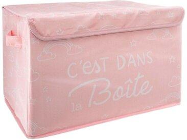 """Coffre de Rangement Pliable Enfant """"Chest"""" 40cm Rose - Paris Prix"""