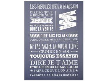 """Toile Imprimée """"Maison"""" 58x78cm Bleu - Paris Prix"""