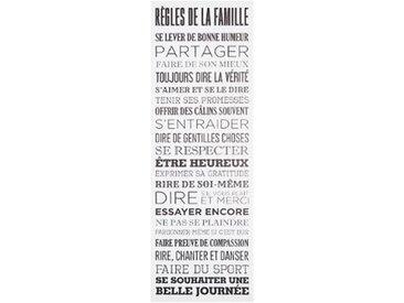"""Toile Imprimée """"Règles de la Famille"""" 30x90cm Blanc - Paris Prix"""