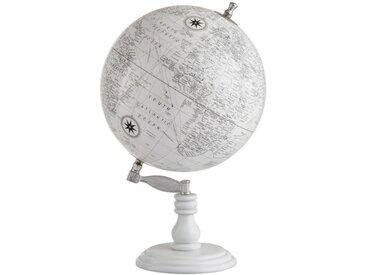 """Globe Terrestre Déco en Bois """"Into"""" 50cm Blanc - Paris Prix"""