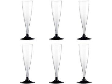 """Lot de 6 Flûtes à Champagne """"Plastique"""" 14cl Noir - Paris Prix"""