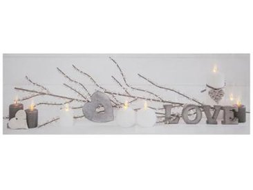 """Toile Imprimée 8 LED """"Love"""" 90cm Blanc - Paris Prix"""