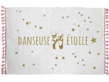 """Tapis Enfant """"Danseuse Étoile"""" 50x80cm Blanc - Paris Prix"""