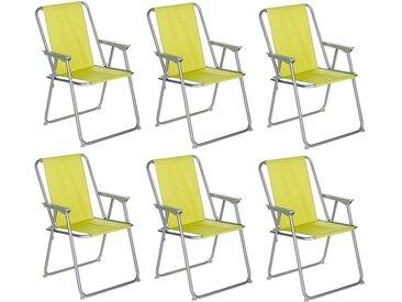 "Lot de 6 Chaises de Camping Pliantes ""Grecia"" 74cm Vert Anis"