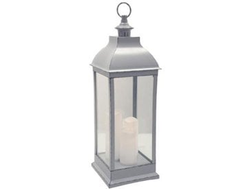 "Lanterne Bougies LED ""Antique"" 71cm Gris - Paris Prix"