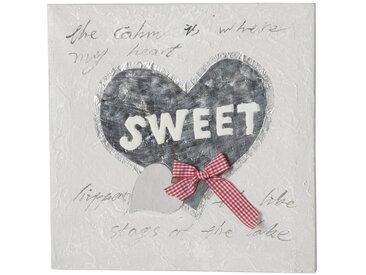 "Toile Peinte Relief ""Sweet"" Gris - Paris Prix"