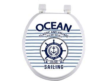 "Abattant WC à Motifs ""Ocean Marin"" 37cm Bleu - Paris Prix"