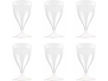 """Lot de 6 Verres à Vin """"Plastique"""" 18cl Transparent - Paris Prix"""